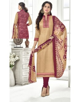 Casual Wear Beige Cotton Satin Salwar Suit - 21853