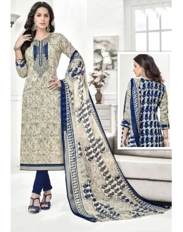 Festival Wear Off White Cotton Satin Salwar Suit - 21855