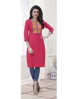 Traditional Wear Readymade Light Orange Rayon Kurti  - 21877