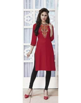 Ethnic Wear Readymade Red Rayon Kurti  - 21878