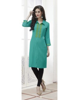 Festival Wear Readymade Light Blue Rayon Kurti  - 21880