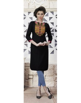 Traditional Wear Readymade Black Rayon Kurti  - 21881