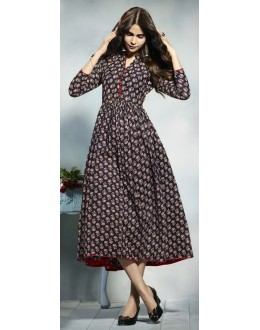 Traditional Wear Readymade Multicolour Cotton Kurti  - 21917
