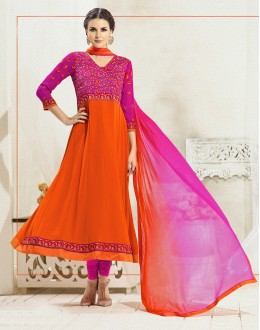Designer Orange & Pink Anarkali Suit - 22181