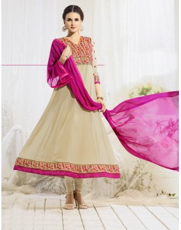 Festive Wear Beige & Pink Anarkali Suit - 22183