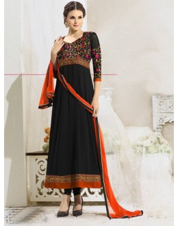 Party  Wear Black & Orange Anarkali Suit - 22184