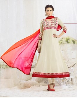 Party Wear White & Pink  Anarkali Suit - 22187