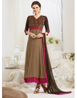 Party Wear Brown  Anarkali Suit - 22188