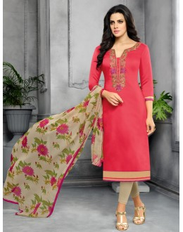Party Wear Unstitched Pink & Cream Salwar Suit - 22272