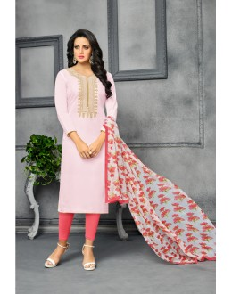 Designer Light Pink Unstitched Salwar Suit - 22275