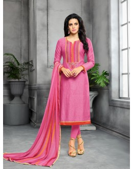 Festive Wear Pink Unstitched Salwar Suit - 22276