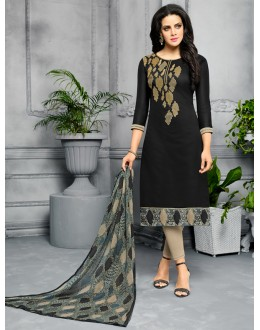 Designer Black Unstitched Salwar Suit - 22279