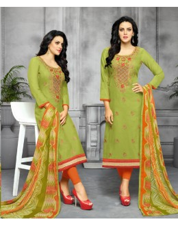 Party Wear Deep Green Unstitched Salwar Suit - 22281