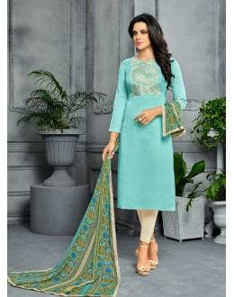 Party Wear Sky Blue Unstitched Salwar Suit - 22282