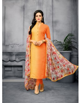 Designer Orange Chanderi Unstitched Salwar Suit - 22283