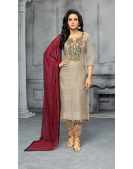 Party Wear Grey & Maroon Unstitched Salwar Suit - 22284
