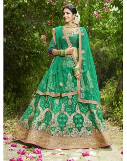 Bridal Wear Green Net Lehenga Choli- 22681