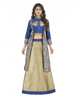 Festive Wear Blue & Beige Lehenga Suit - 22805