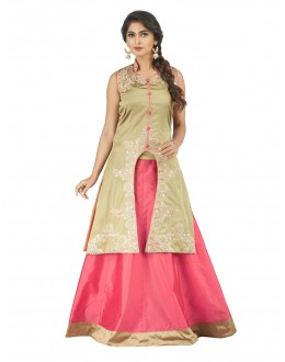 Festive Wear Beige & Light Pink Lehenga Suit - 22809