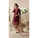 Festive Wear Maroon & Cream Patiala Suit - 22812