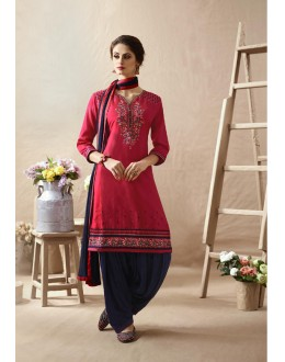 Party Wear Pink & Blue Embroidered Patiala Suit - 22814