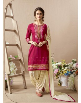 Embroidered Pink & Off-White Patiala Suit - 22816