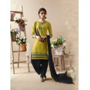 Deep Yellow & Blue Embroidered Patiala Suit - 22818