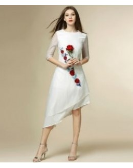 Party Wear Readymade White Western Wear Dress - 1021011