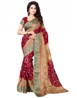 Festival Wear Red & Beige Bandhani Saree  - 2163001