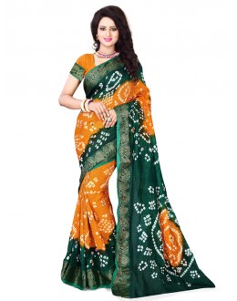 Party Wear Green & Yellow Bandhani Saree  - 2163002