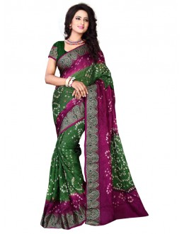 Ethnic Wear Meganta & Green Bandhani Saree  - 2163003