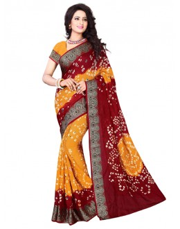 Party Wear Red & Yellow Bandhani Saree  - 2163004