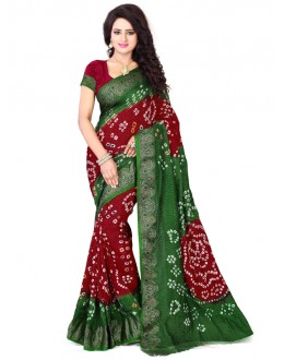 Festival Wear Green & Red Bandhani Saree  - 2163005