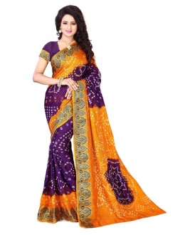 Festival Wear Yellow & Purple Bandhani Saree  - 2163006