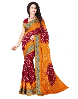 Festival Wear Yellow & Red Bandhani Saree  - 2163007