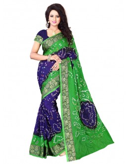 Ethnic Wear Green & Blue Bandhani Saree  - 2163008