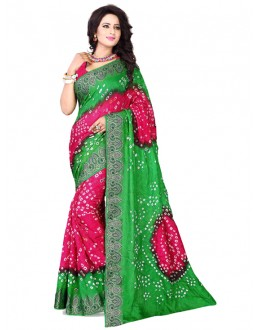 Festival Wear Green & Pink Bandhani Saree  - 2163009