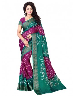 Party Wear Meganta & Pink Bandhani Saree  - 2163010