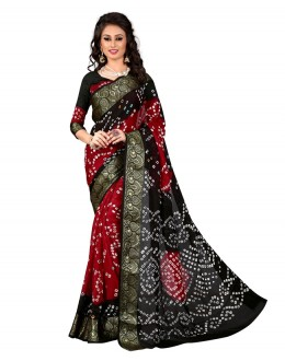 Party Wear Red & Black Bandhani Saree  - 2163011