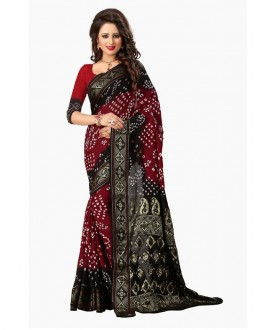 Festival Wear Black & Red Bandhani Saree  - 2164001