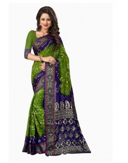 Ethnic Wear Blue & Green Bandhani Saree  - 2164002