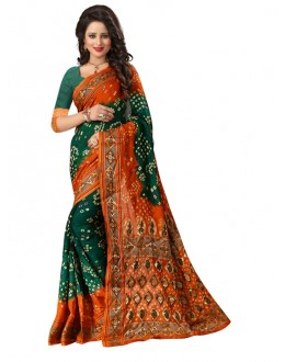 Party Wear Orange & Green Bandhani Saree  - 2164003