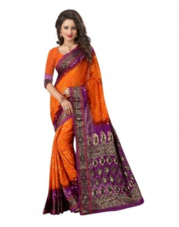 Festival Wear Purple & Musterd Bandhani Saree  - 2164004