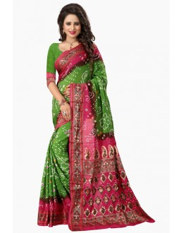 Festival Wear Pink & Green Bandhani Saree  - 2164005