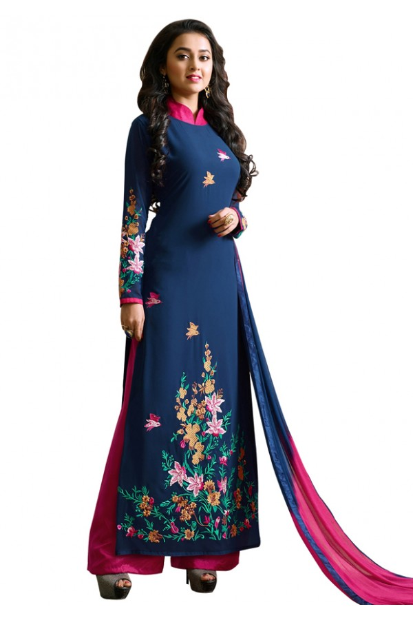 Party Wear Blue & Pink Georgette Palazzo Suit- 115436