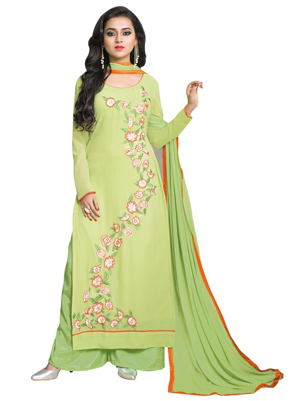 Office Wear Parrot Green Georgette Palazzo Suit- 115437
