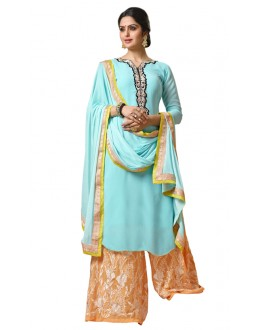 Office Wear Sky Blue Georgette Palazzo Suit- 115449