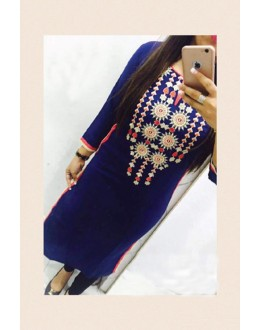 Party Wear Blue Georgette Kurti - 108043