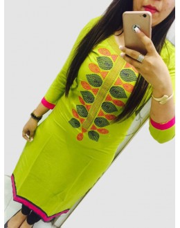 Party Wear Parrot Green Georgette Kurti - 108048