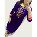 Party Wear Purple Blue Georgette Kurti - 108053